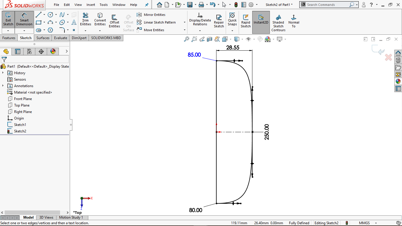Fully defined spline sketch in solidworks