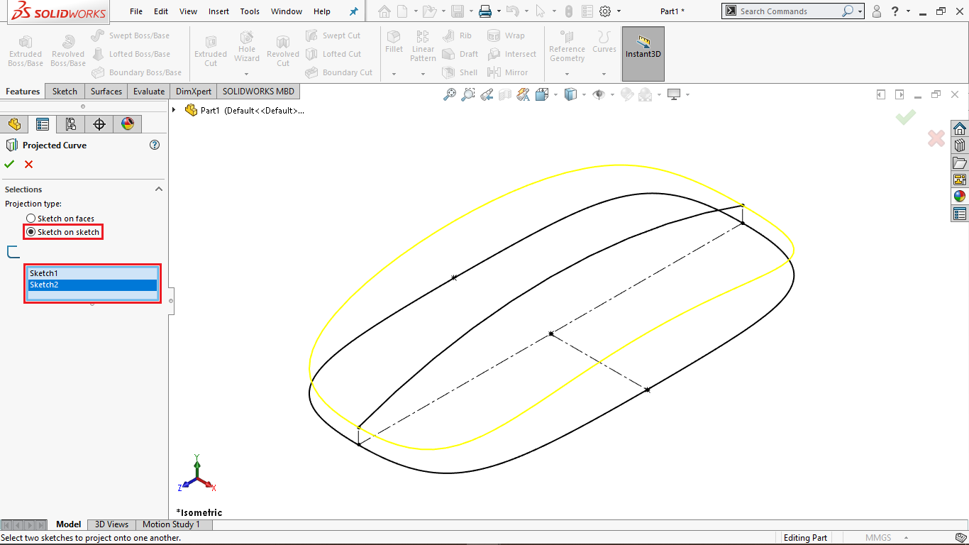 Projected Curve in Solidworks