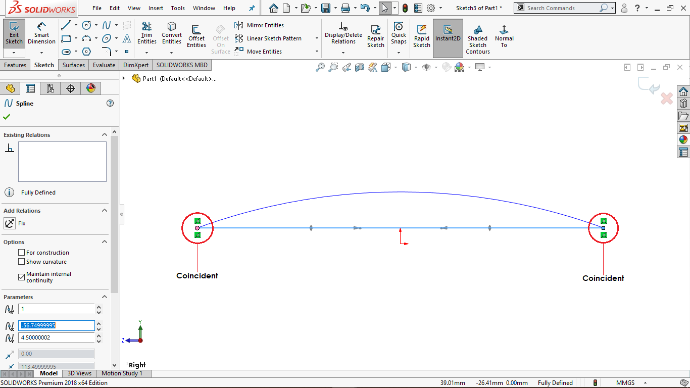 Spline sketch in solidworks
