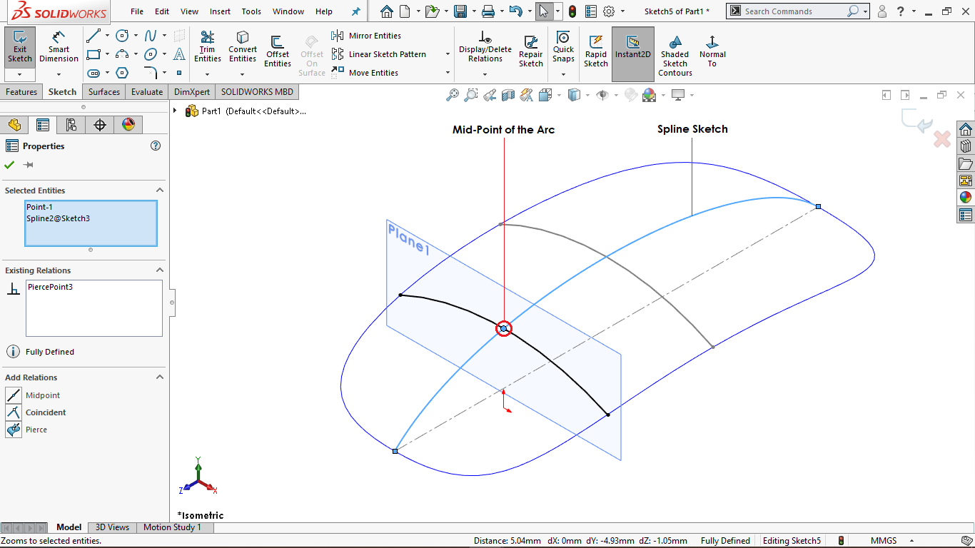 Fully defined 3 point arc in solidworks