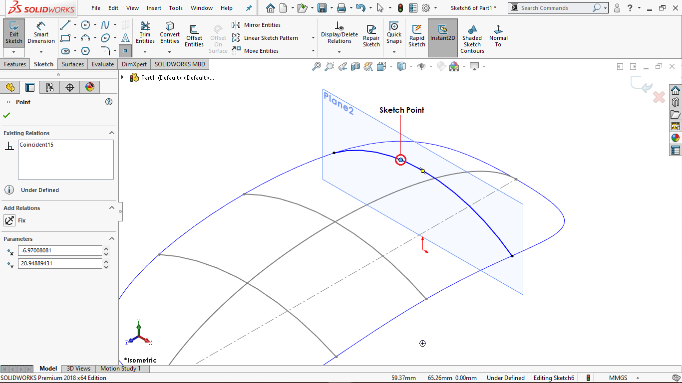 Sketch Point in Solidworks