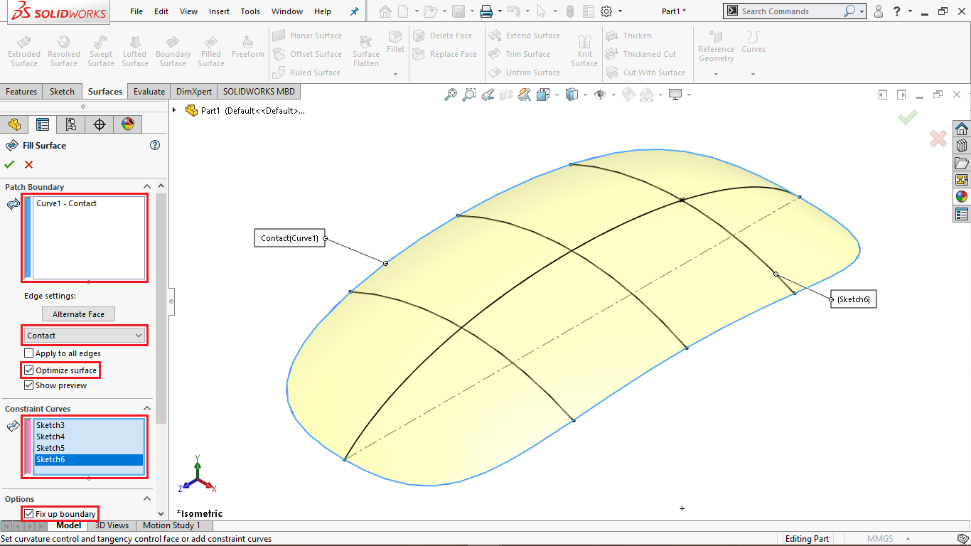 Filled Surface in Solidworks