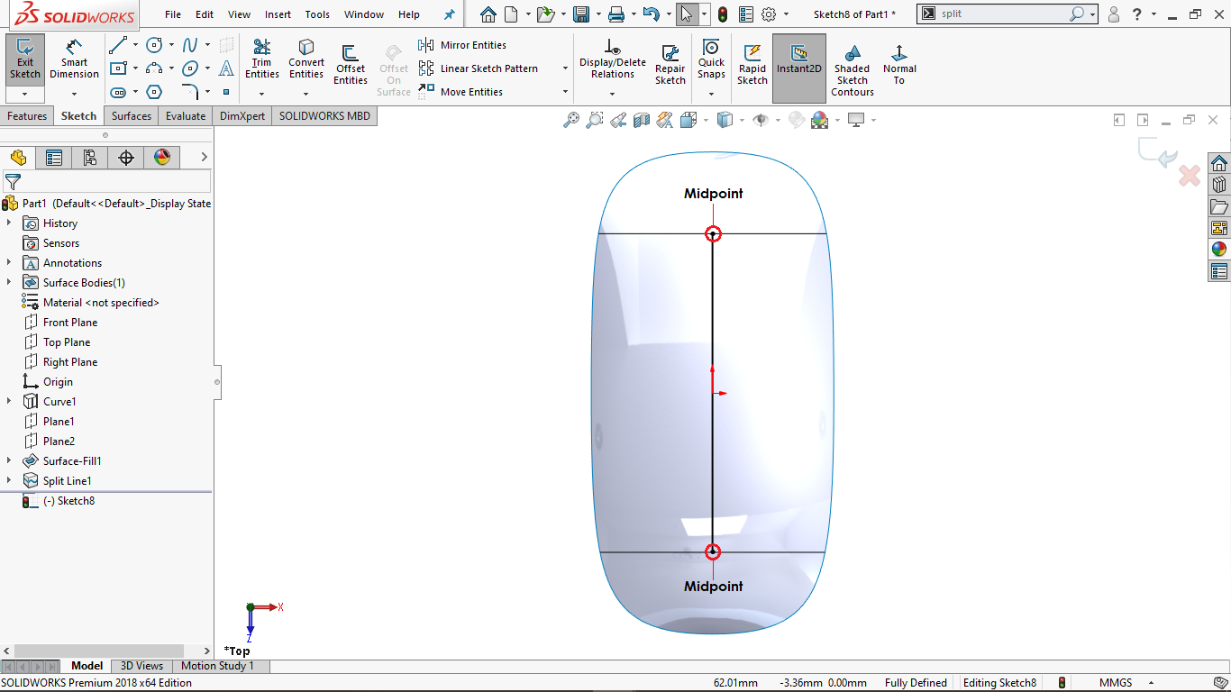 Vertical Line in Solidworks