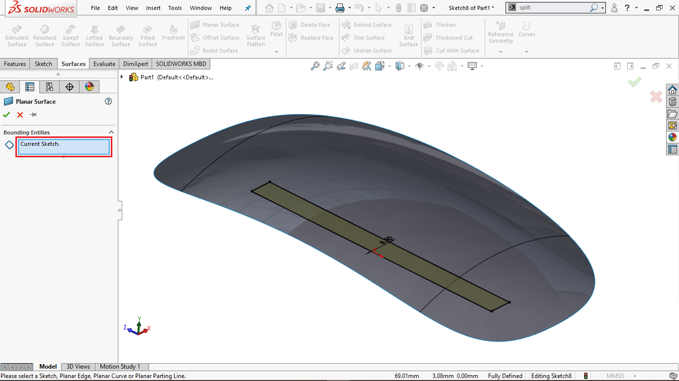 Planar Surface Tool in Solidworks