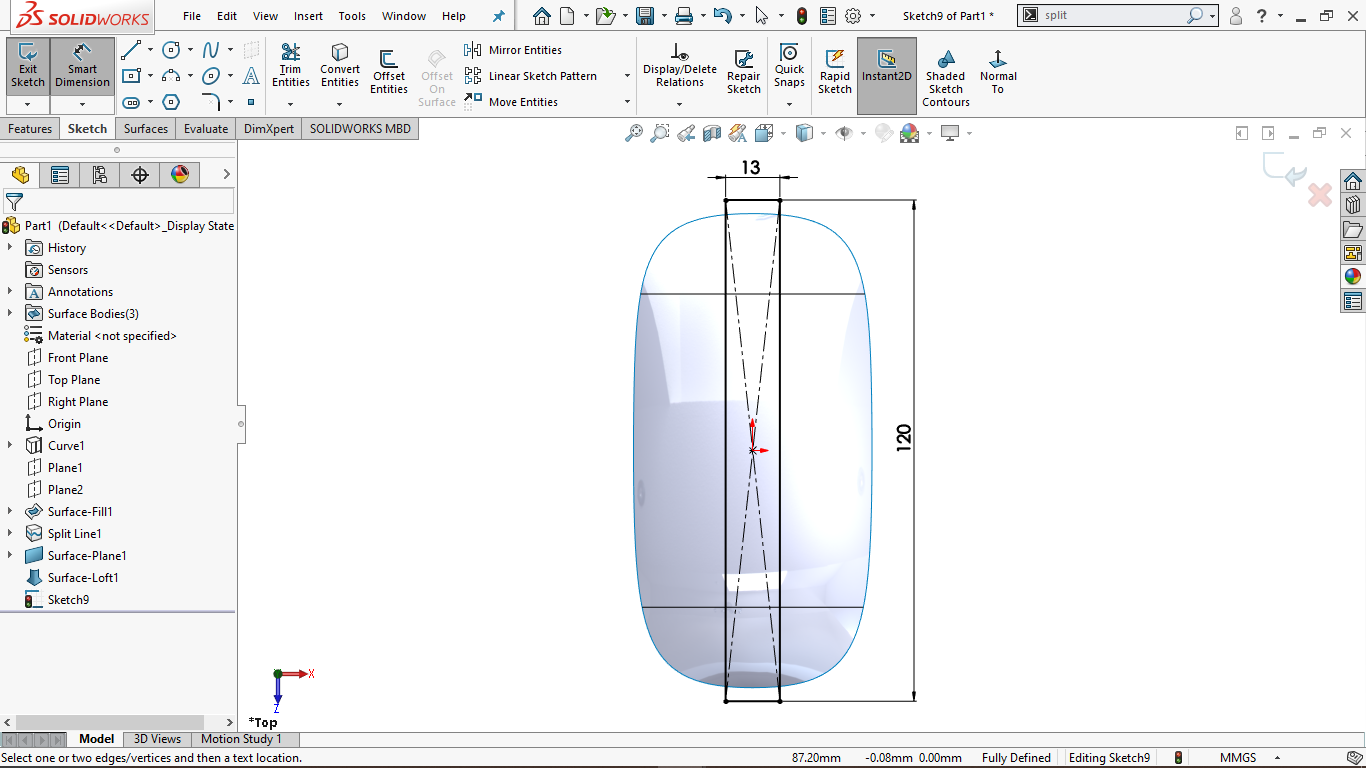 Fully defined rectangular sketch in solidworks
