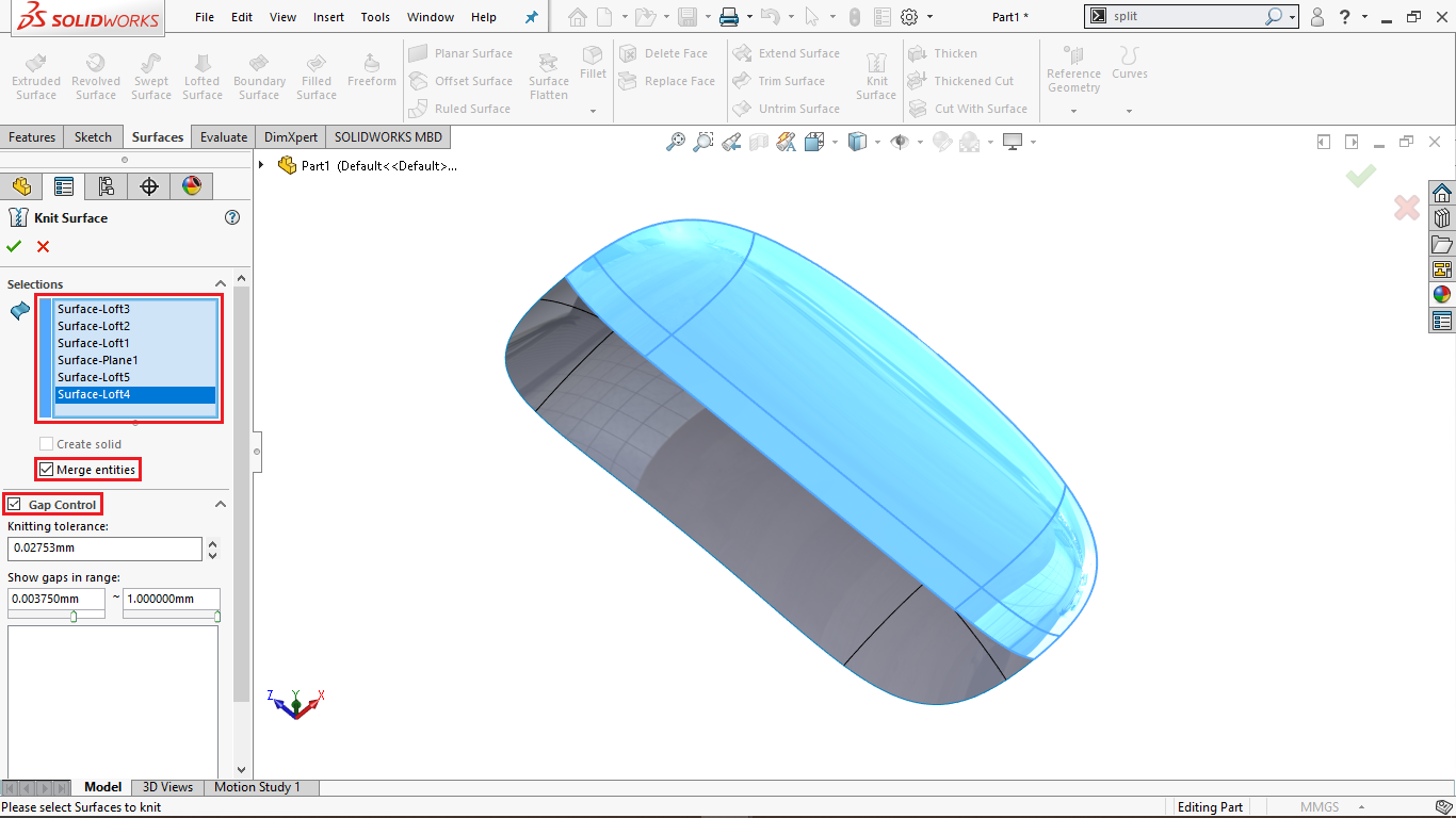 Knit surface in Solidworks