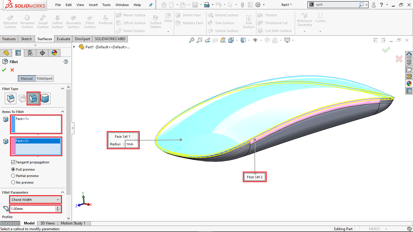 Face Fillet in Solidworks