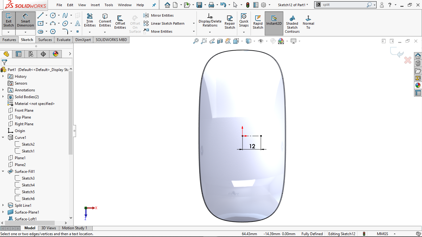 fully defined horizontal centerline in solidworks