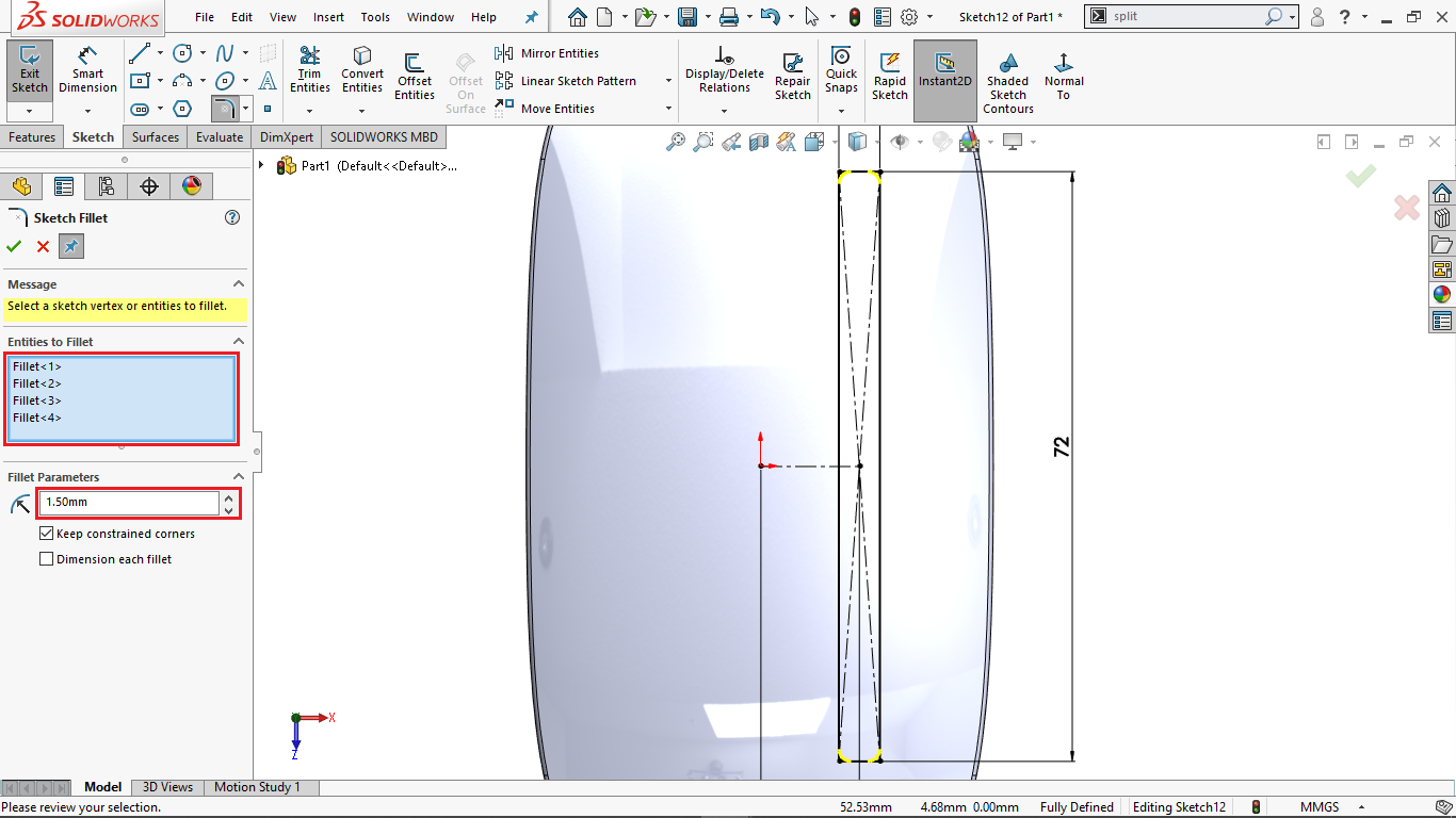 Sketch Fillets in solidworks