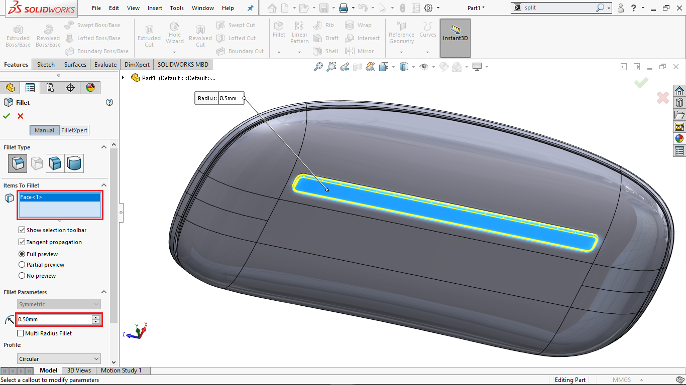 Fillets in Solidworks