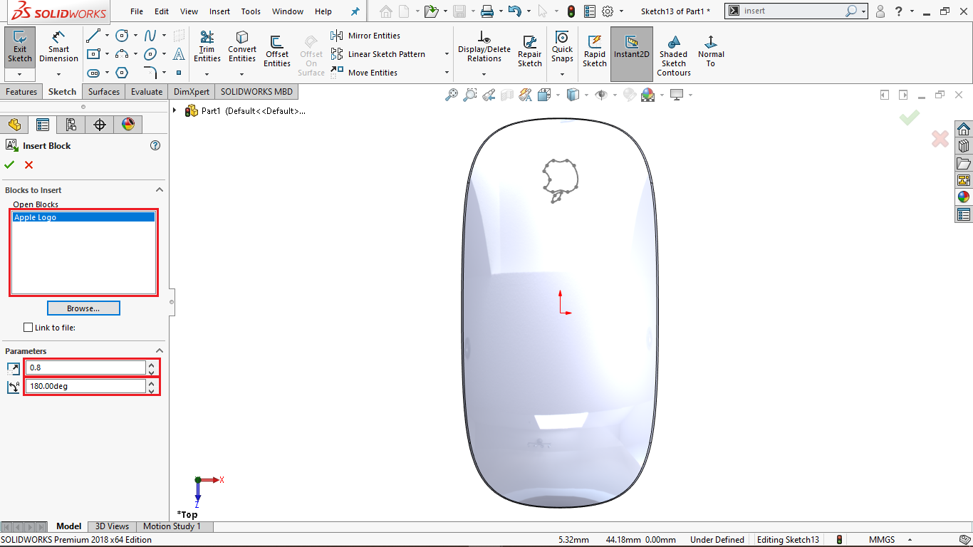 Add a sketch Block in Solidworks