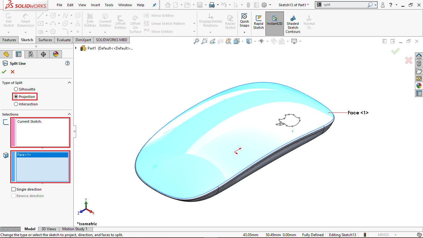 Split Line Tool in Solidworks