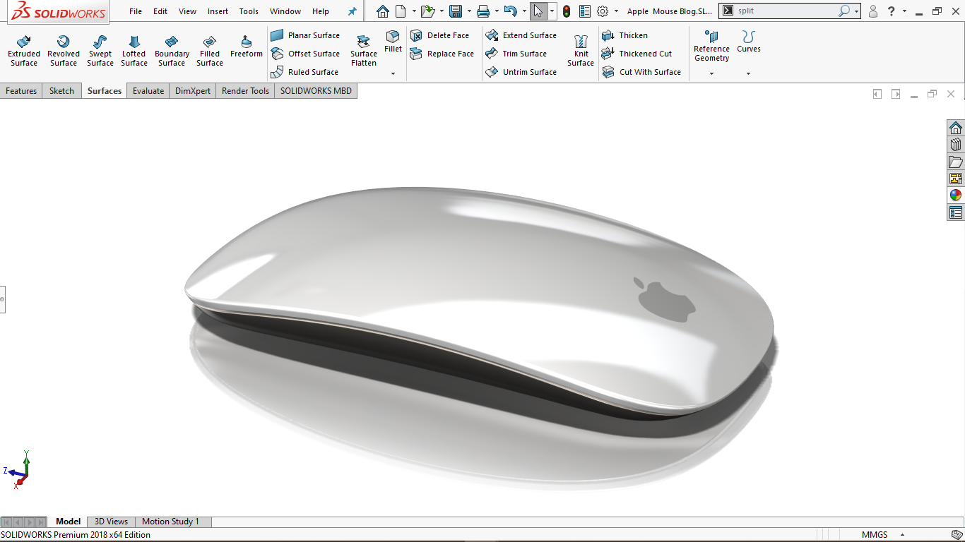 Real view image of a Apple Mouse in solidworks