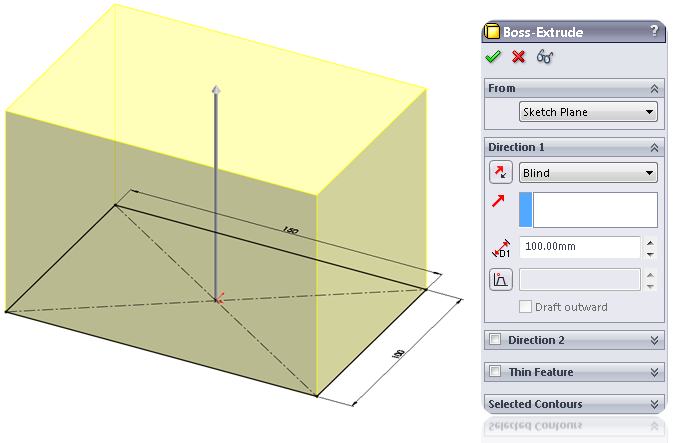 Change the dimension of the Extrude