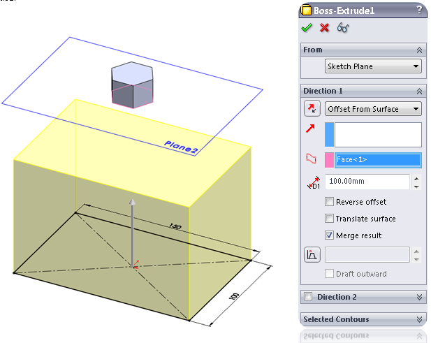 Offset from surface