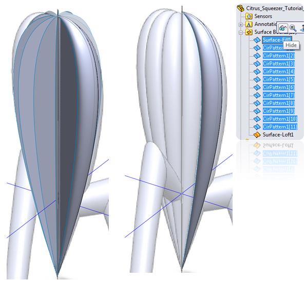 Hide Bodies in SolidWorks