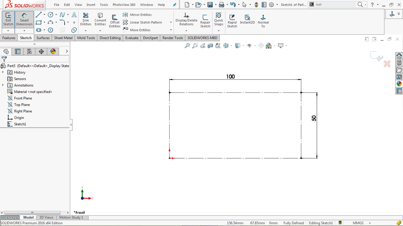 construction corner rectangle in solidworks