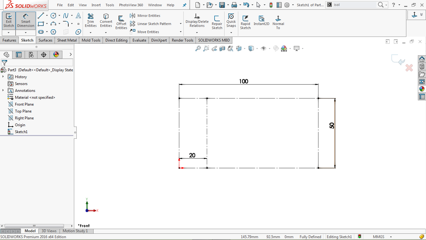 construction corner rectangle and a construction line in side the rectangle in solidworks