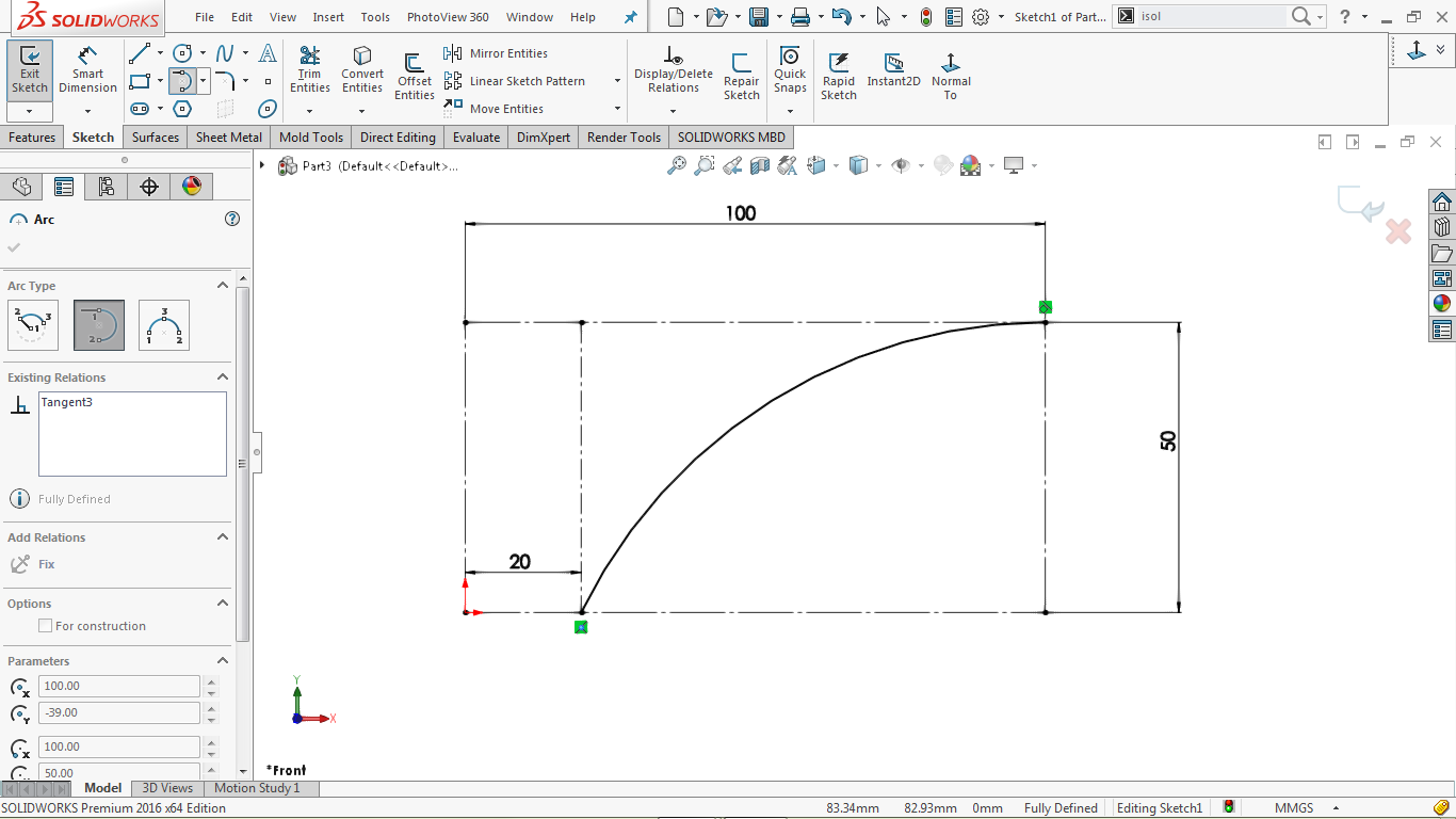 tangent arc in solidworks