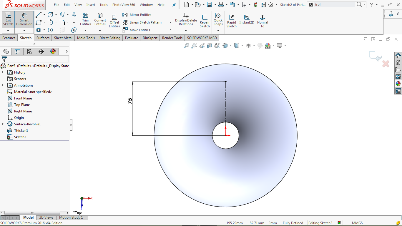 vertical center line in solidworks