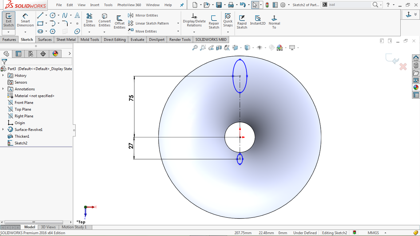 two undefined ellipse in solidworks