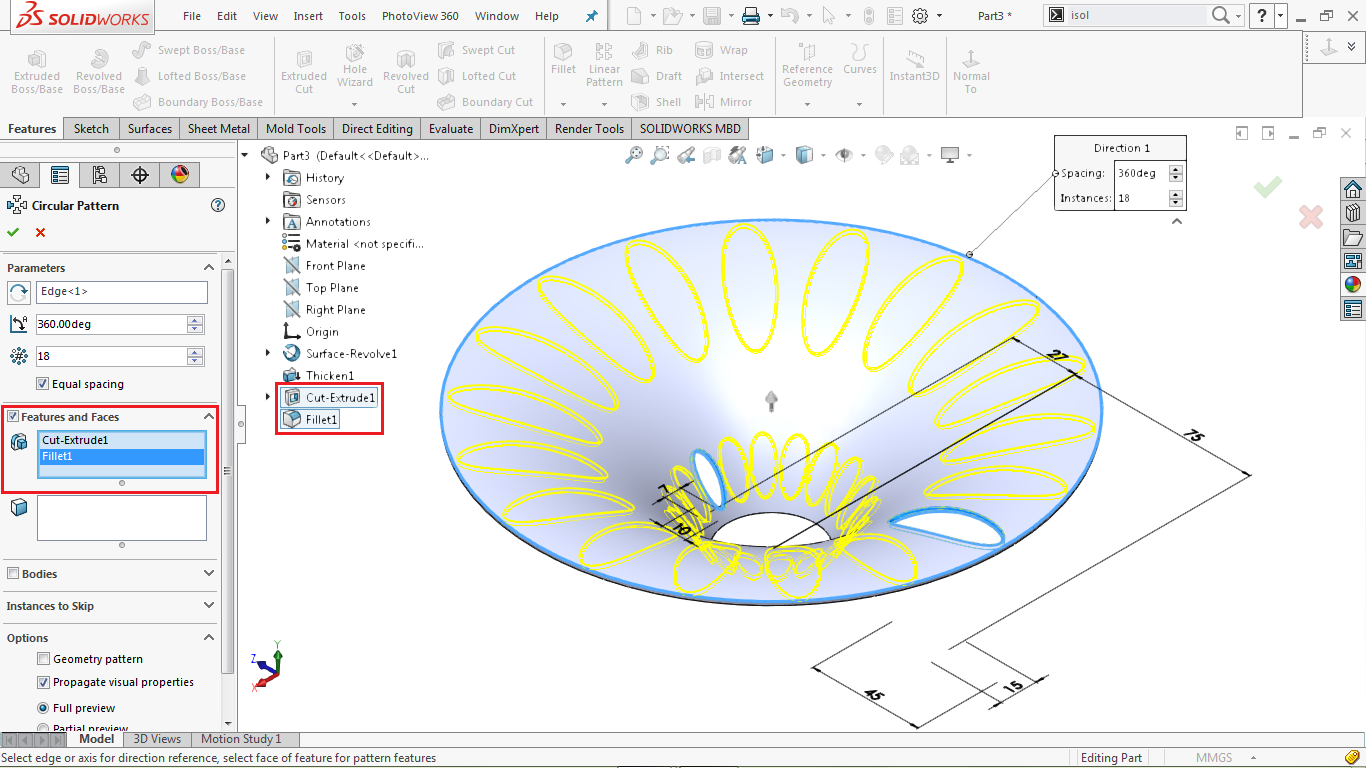 Circular pattern in solidworks