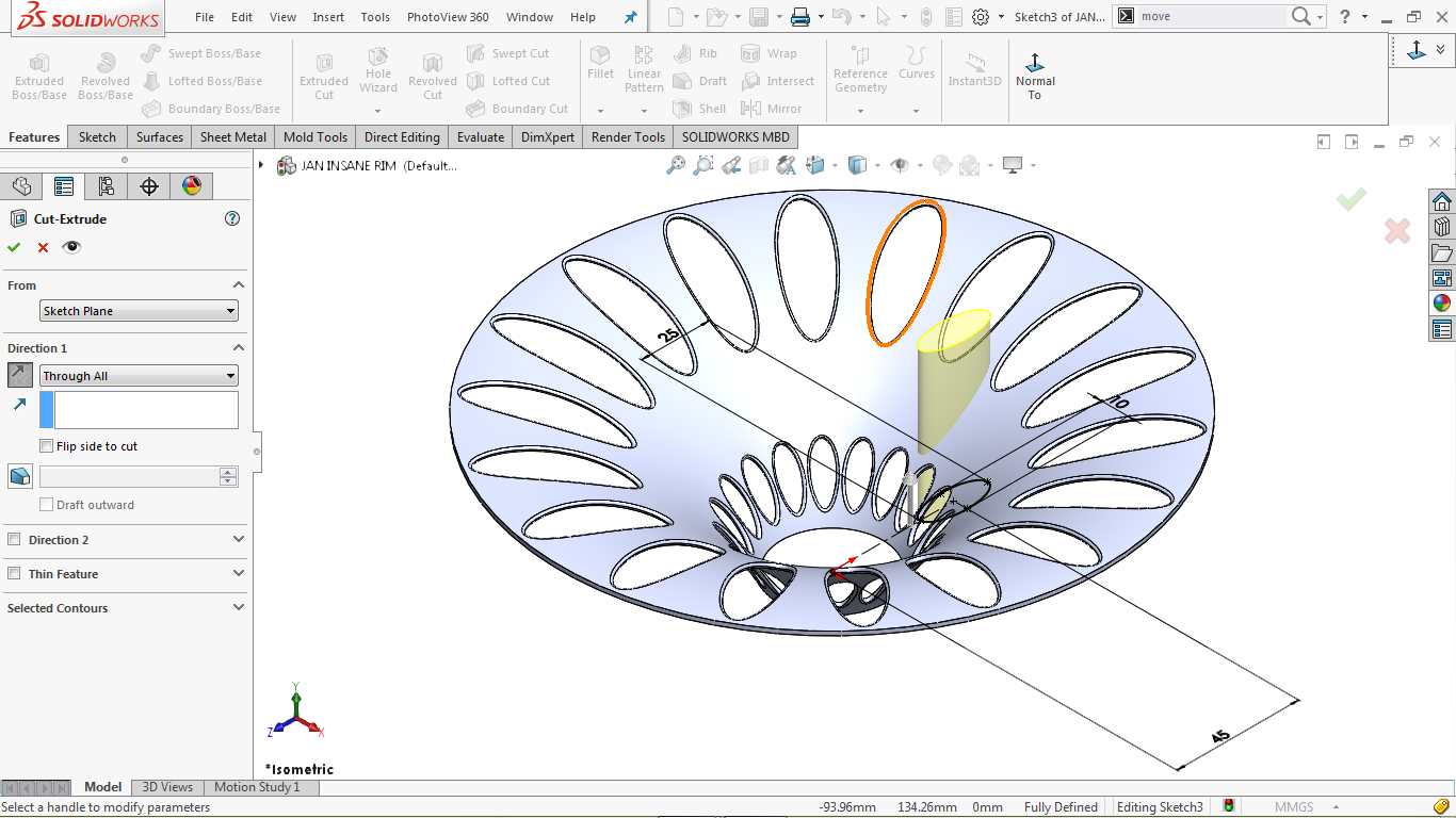 Extrude Cut feature in solidworks