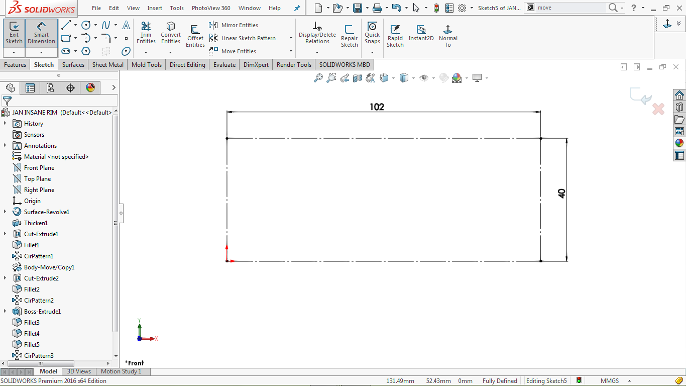 This image shows a construction corner rectangle in solidworks