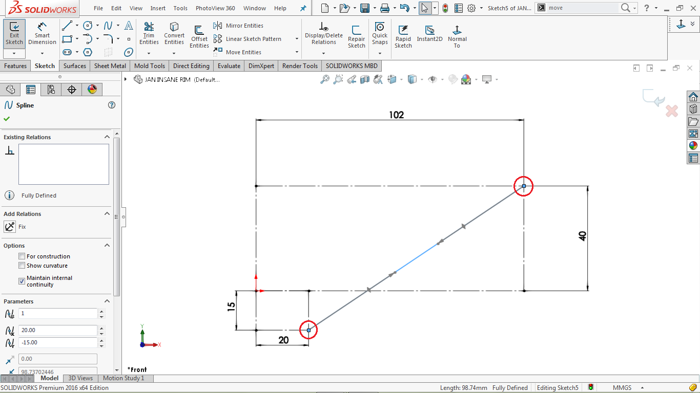 undefined 2d sketch spline in solidworks