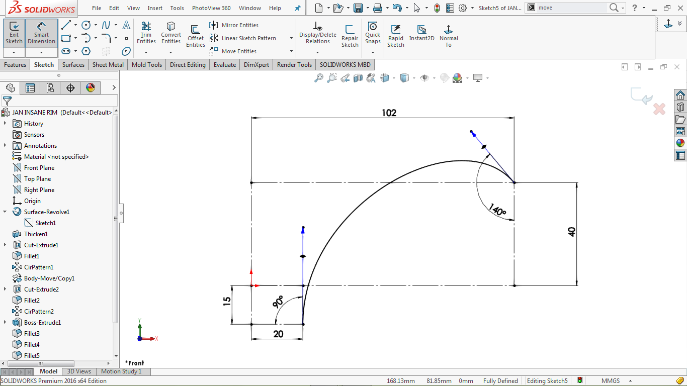 Partially defined 2d sketch spline in solidworks