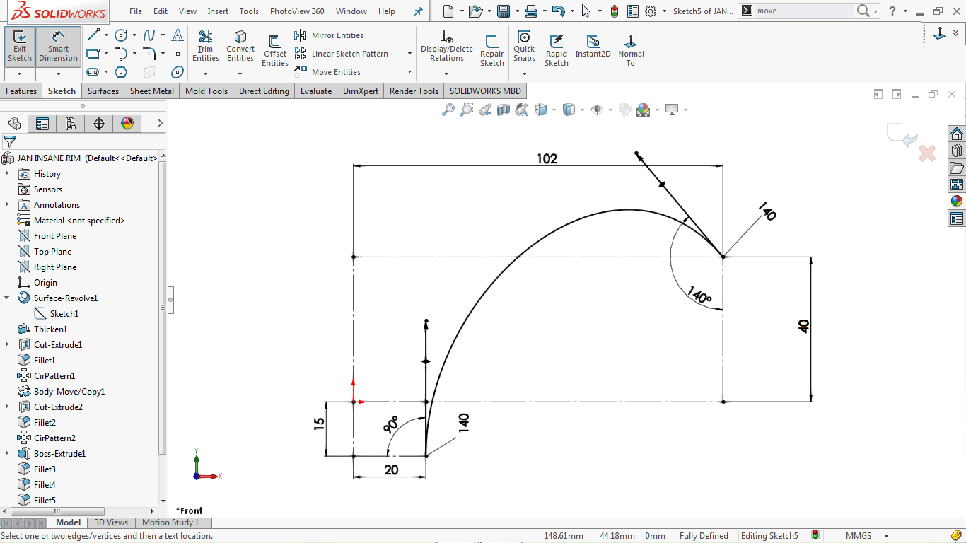 Fully defined 2d sketch spline in solidworks