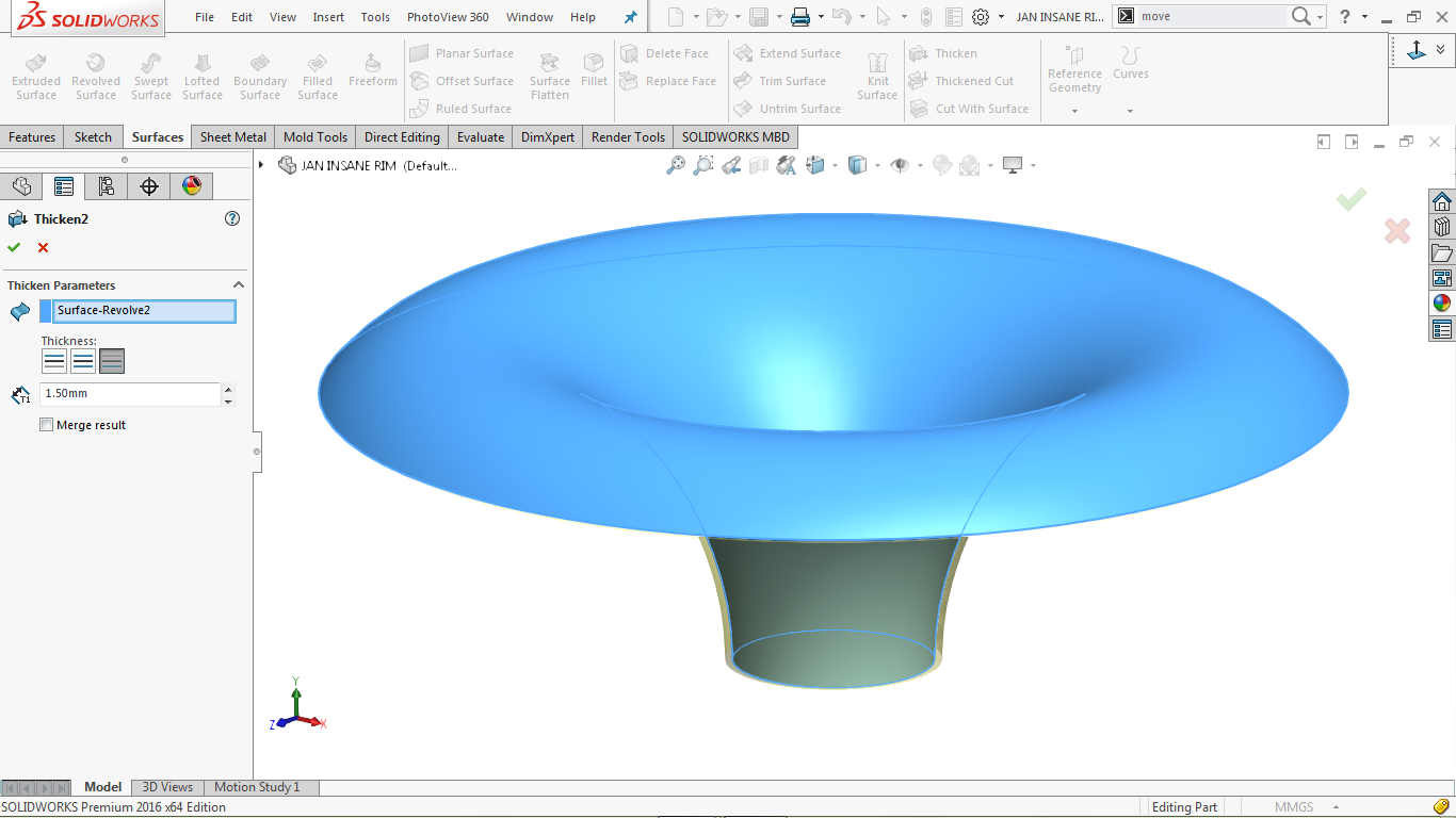 Thicken feature in solidworks