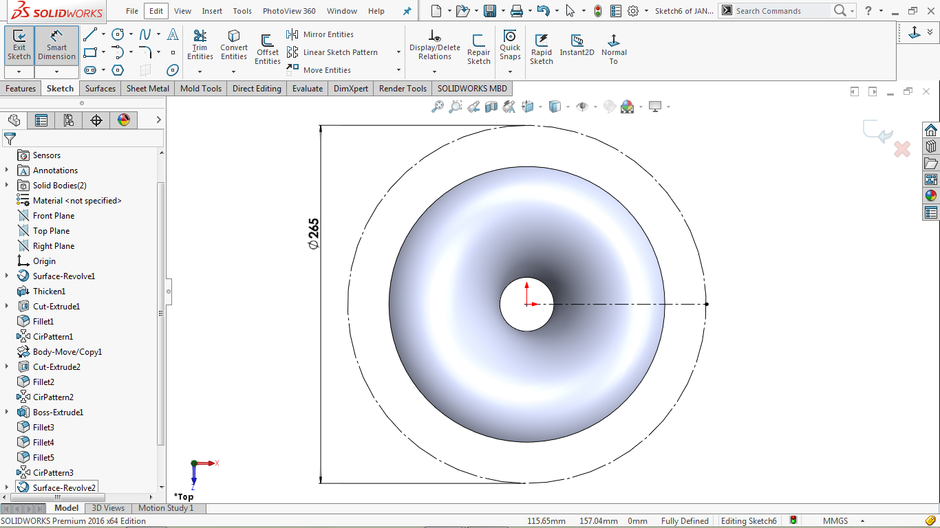 Construction circle with horizontal radial line in solidworks