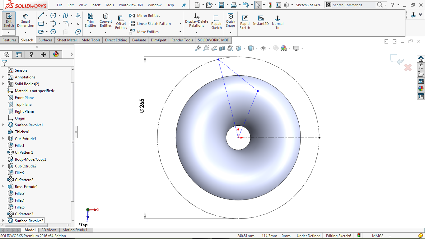 Multiple center lines inside the construction circle in solidworks