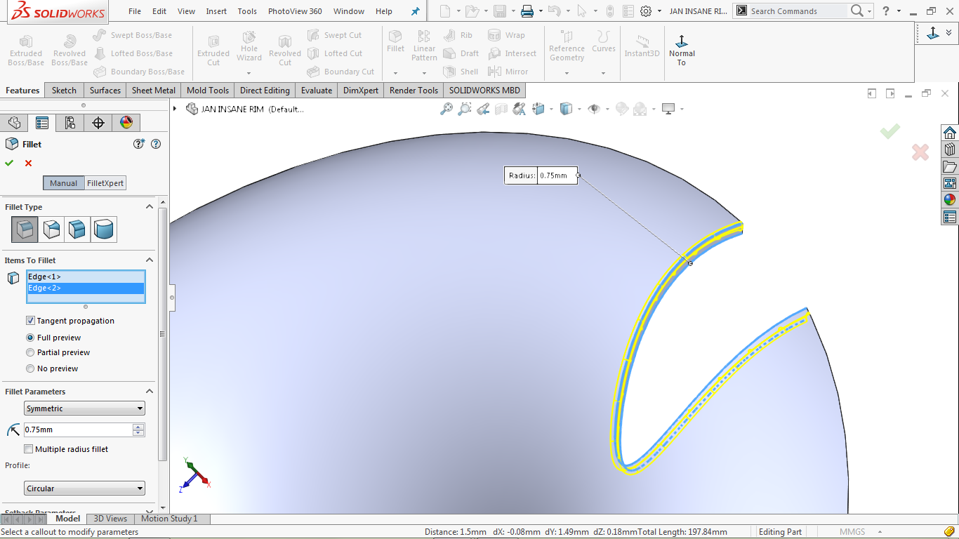 Fillet feature in solidworks