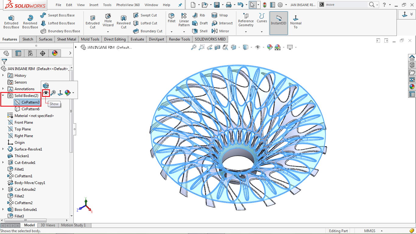 Unhiding the solid body in solidworks