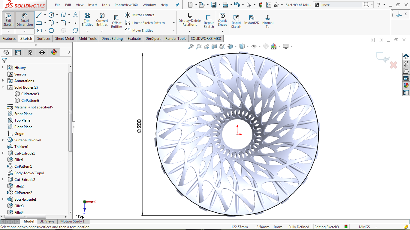 Fully defined circular sketch in solidworks