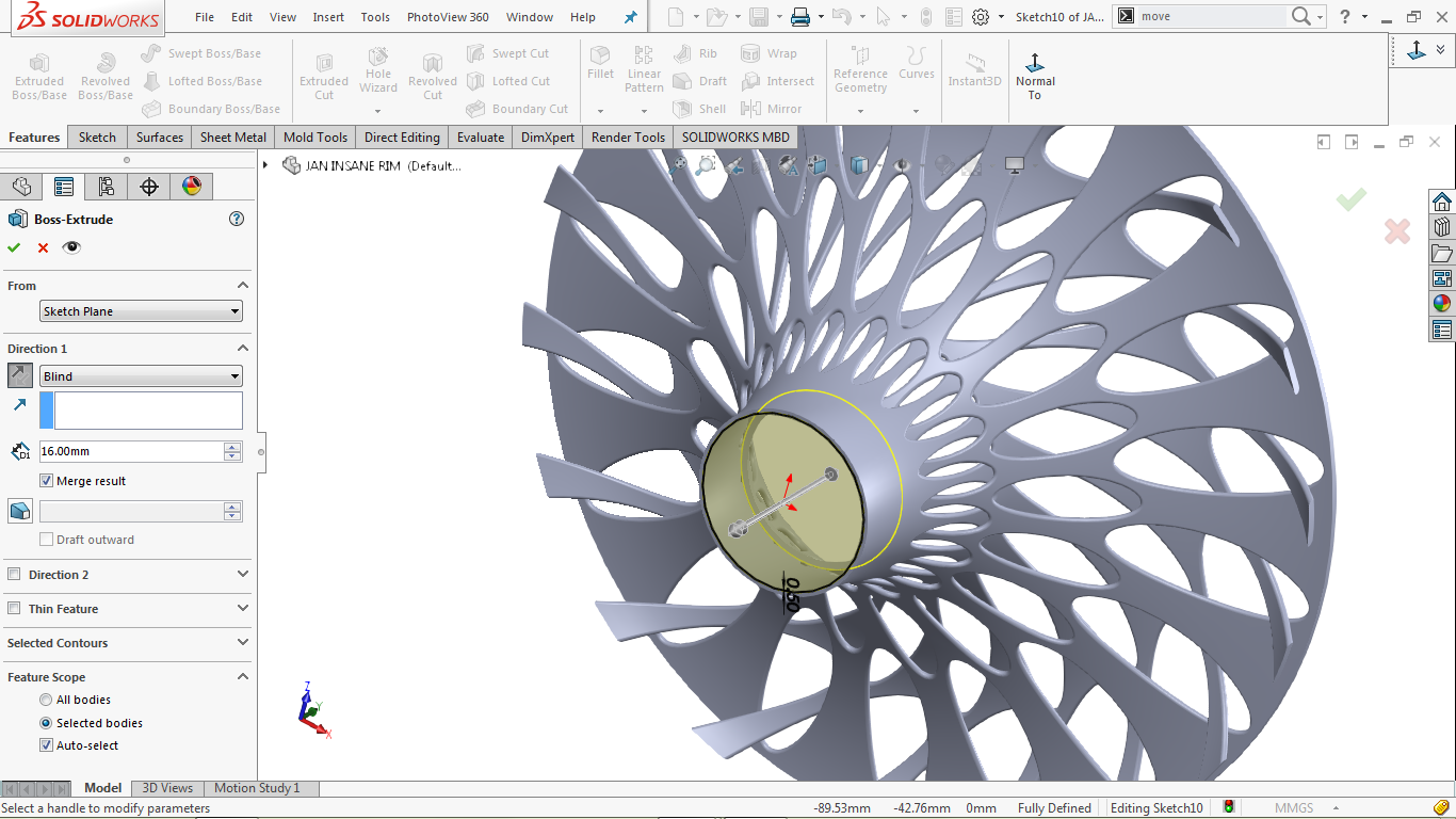 Extrude boss/base feature in solidworks