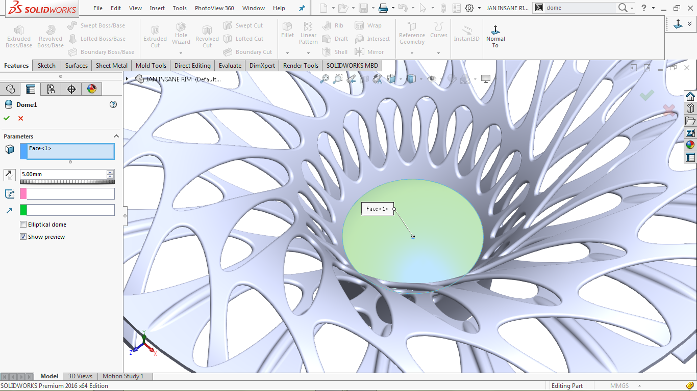 Dome Tool in solidworks