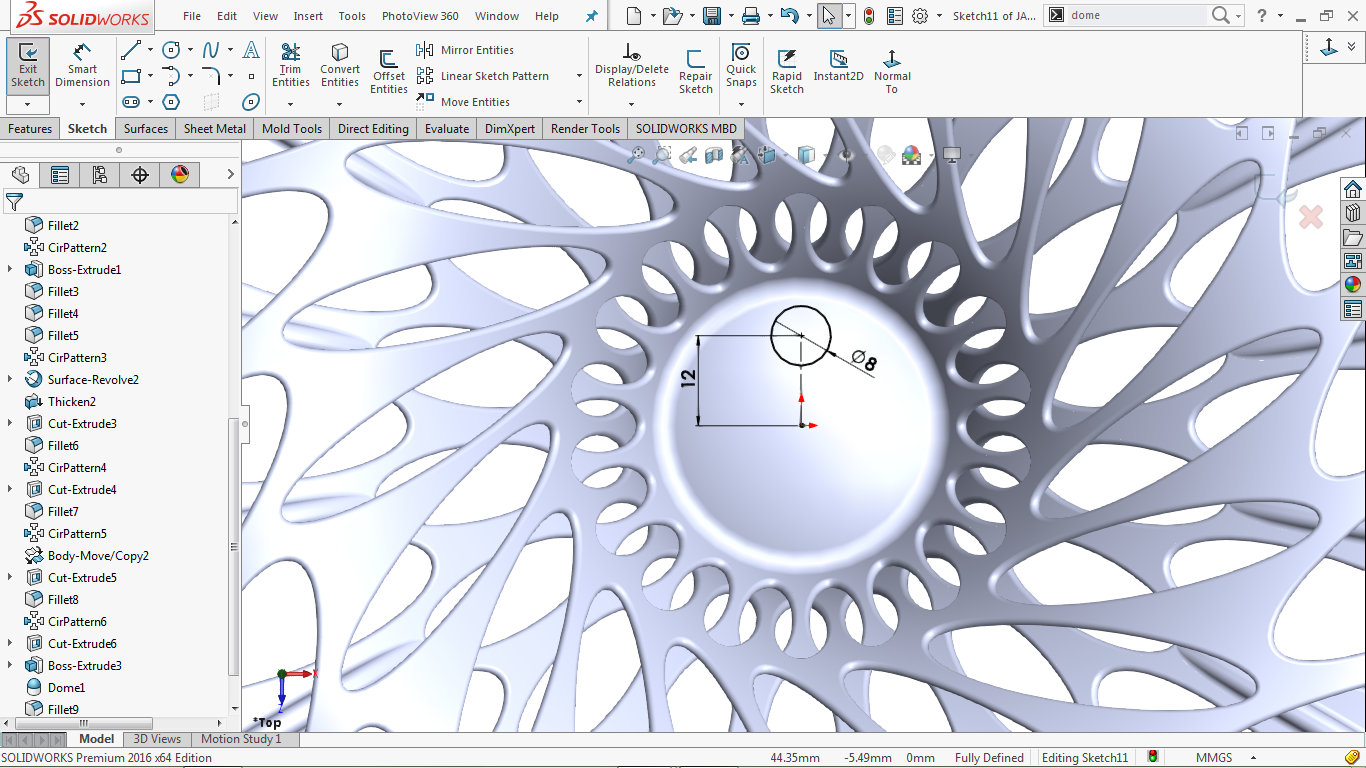circle and a center line in solidworks