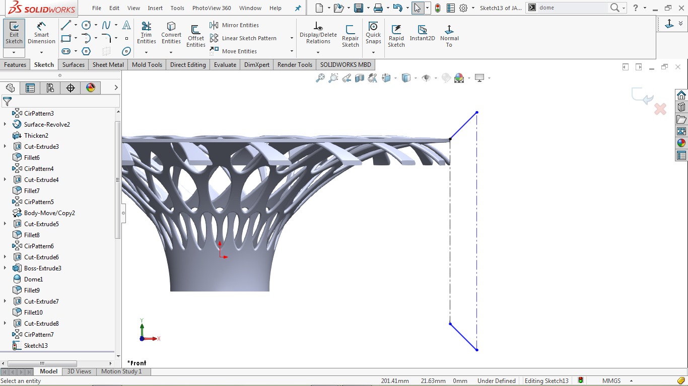 Undefined 2d sketch in solidworks