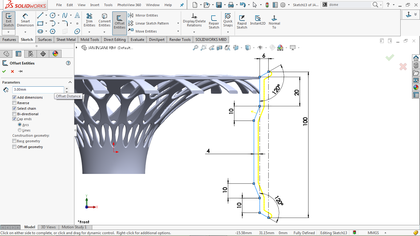 offset entities with capped ends in a 2d sketch in solidworks