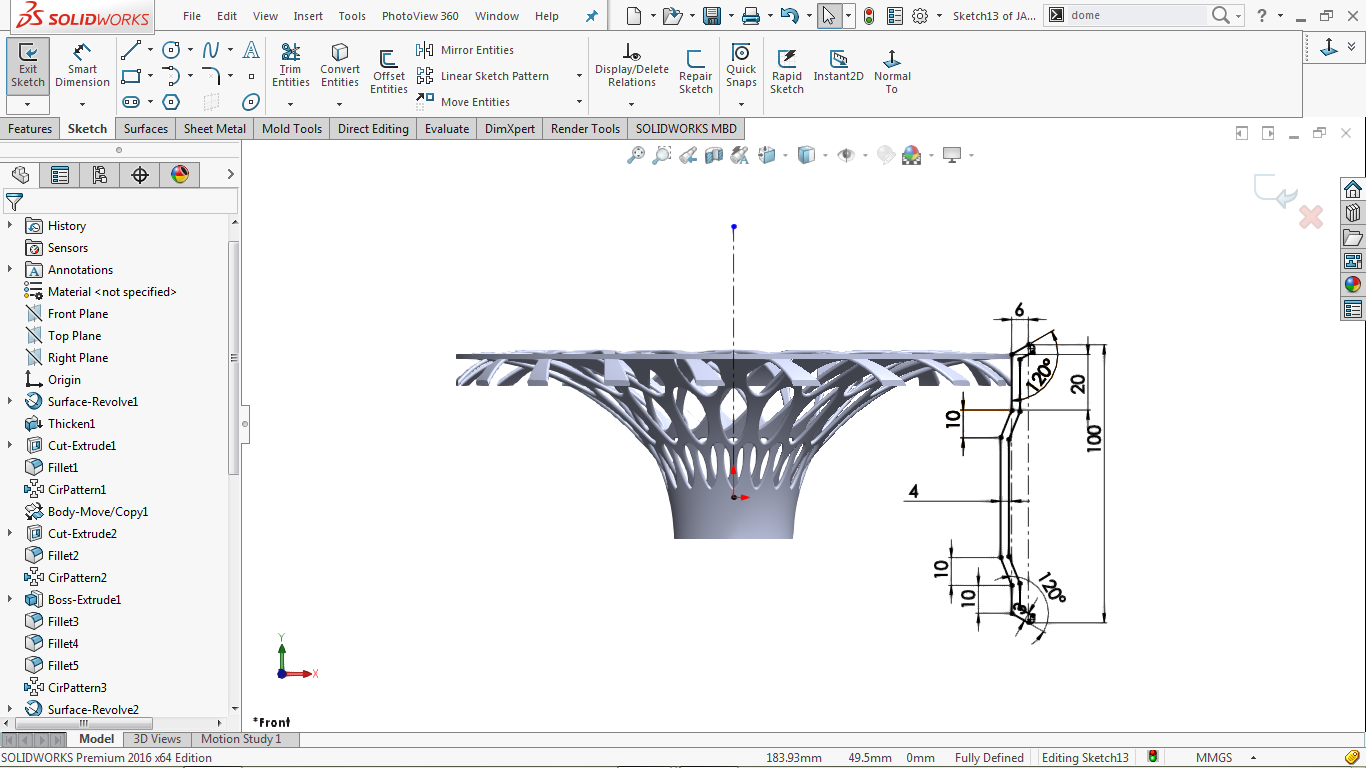 center line with a fully defined 2d sketch in solidworks