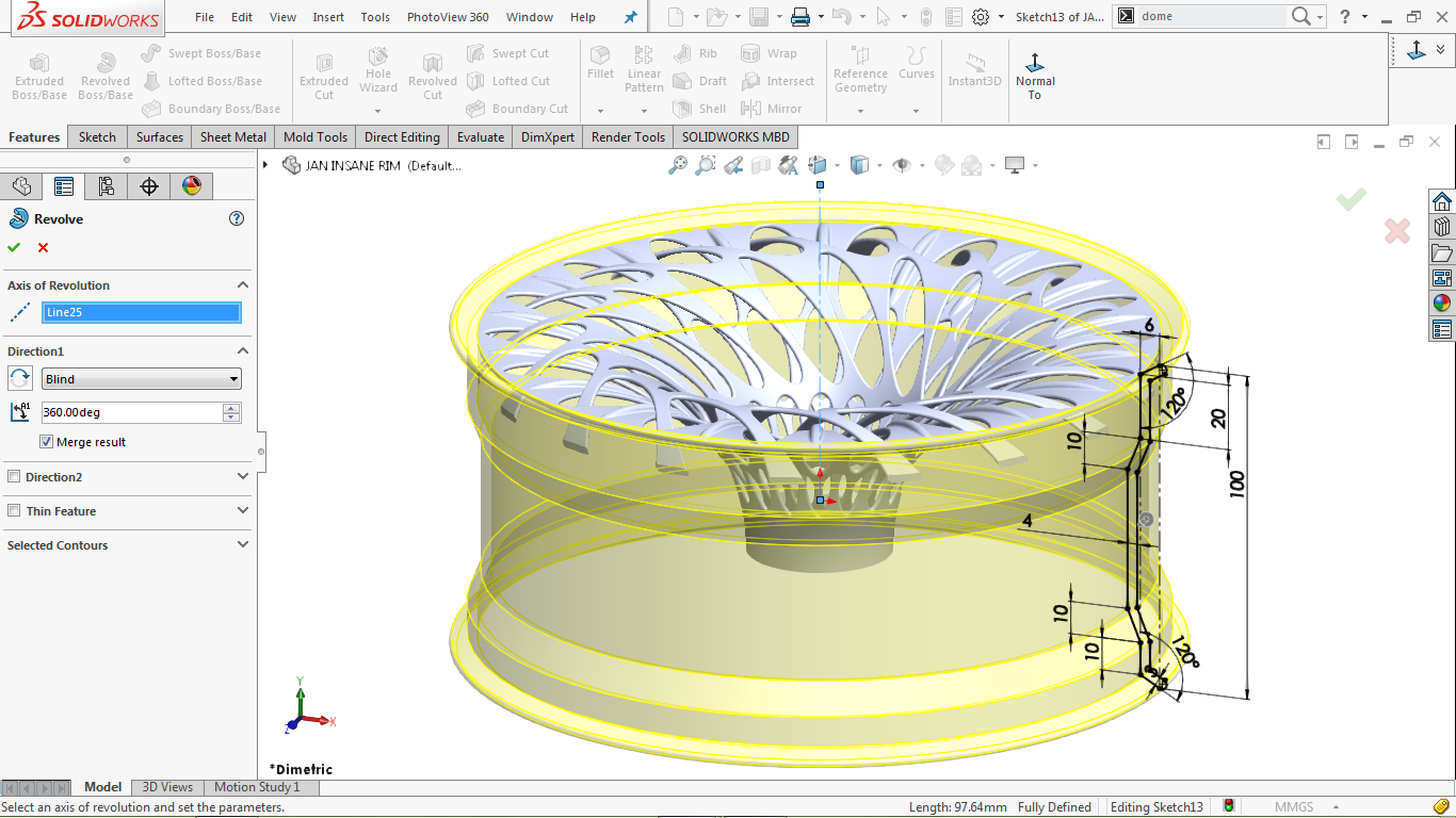 revolved boss/base feature in solidworks