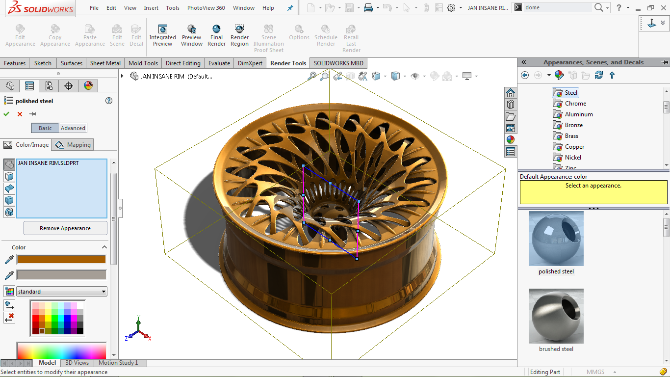 Changing appearance in solidworks