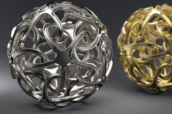 Rendering of an interlinked star geometry in SolidWorks