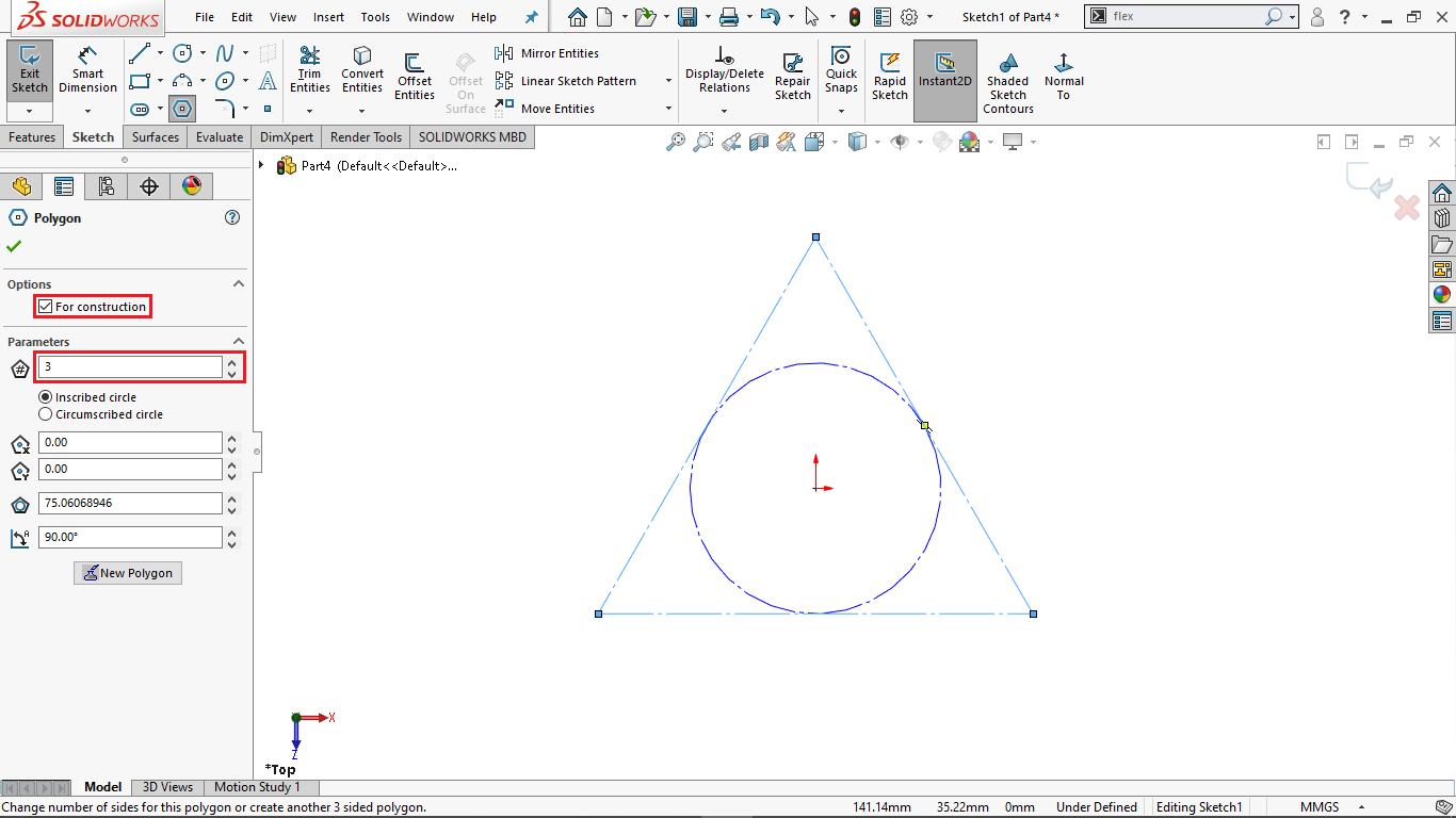 Polygon sketch command in Solidworks