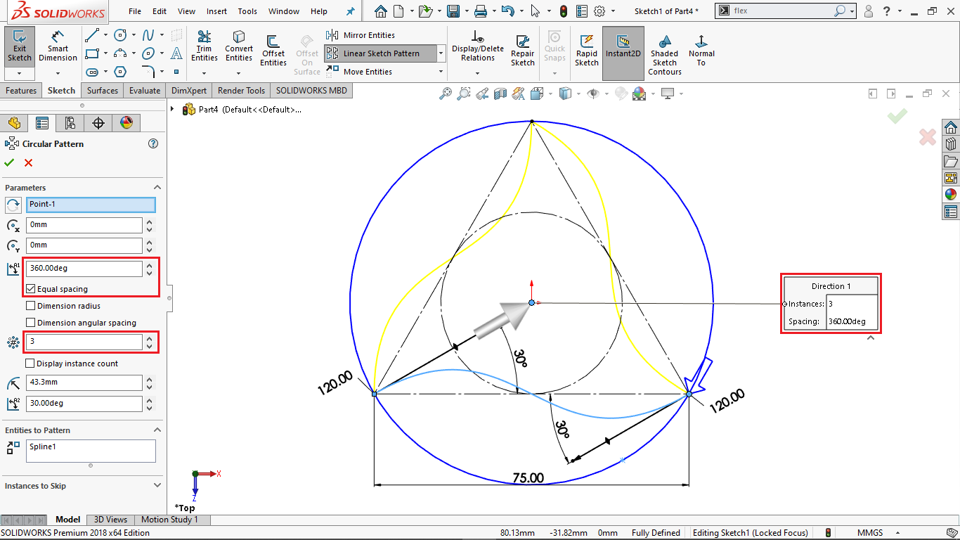 Circular sketch pattern in solidworks