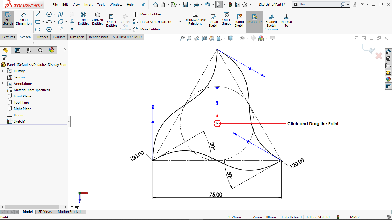 Fully defined circular sketch pattern in solidworks