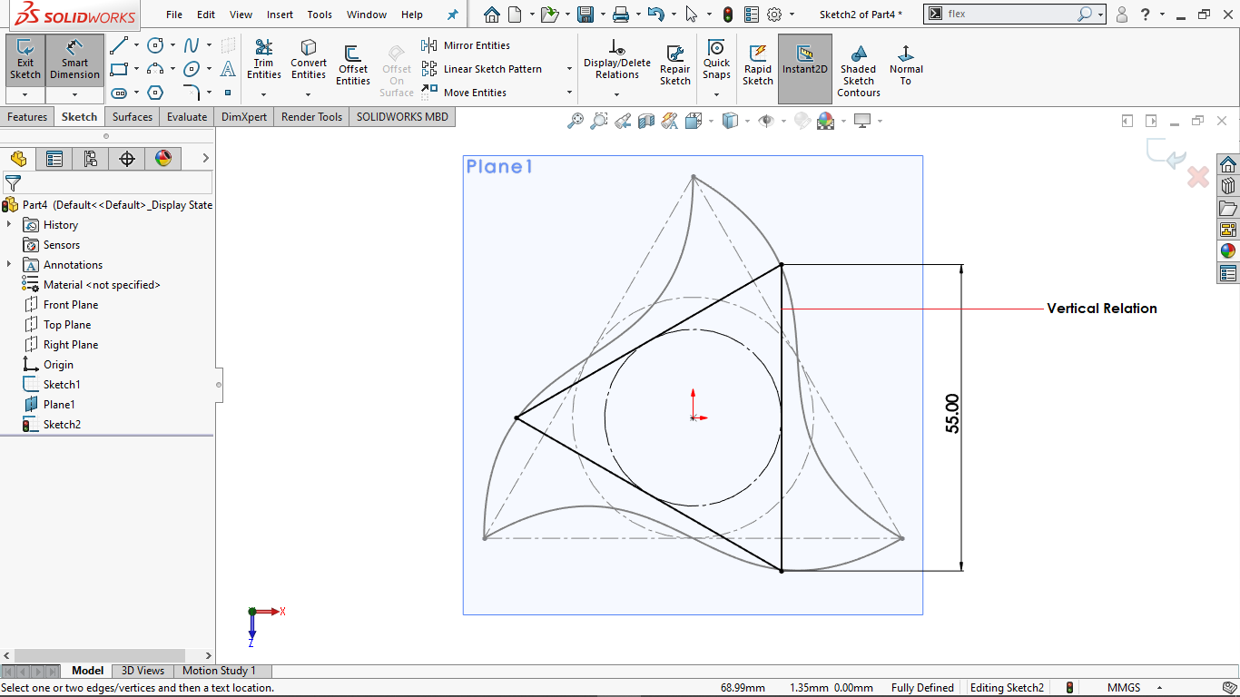 Fully defined triangular sketch in solidworks